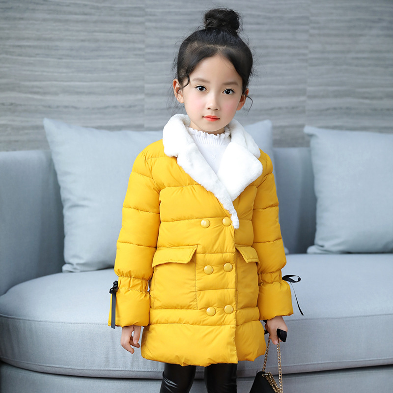teenage girls winter fleece long coats and jackets kids double-breasted warm padded cotton solid jacket girl children clothing 2018 new fashion suede lamb wool women coats double breasted warm solid thick long overcoat casual winter cotton jackets female