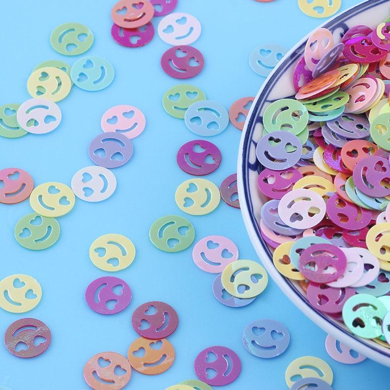 10g 10mm Loose Sequins for Crafts Heart Smiley Face Lentejuelas DIY Nail Art Decoration Confetti Giltter Sequin Sewing Paillette