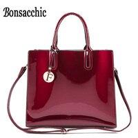 Bonsacchic الأحمر براءات جلد حمل حقيبة حقائب النساء الماركات الشهيرة ليدي طلى حقيبة يد حمراء للنساء الكتف حقيبة الكيس