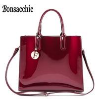 Bonsacchic Women Patent Leather Handbags Medium Tote Bag Black Hand Bag Famous Brand Designer Handbags Ladies