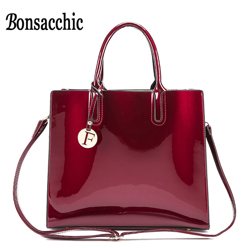 Bonsacchic Red Patent Leather Tote Bag Handbags Women Famous Brands Lady's Lacquered Bag Red Handbag for Women Shoulder Bag Sac