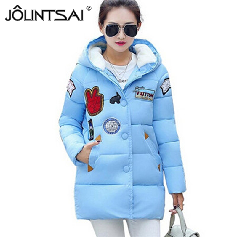 ФОТО 2017 New Winter Jacket Women Letter Printed Hooded Coat Female Fashion Warm Cotton-Padded Jacket Long Paragraph Cotton Coat
