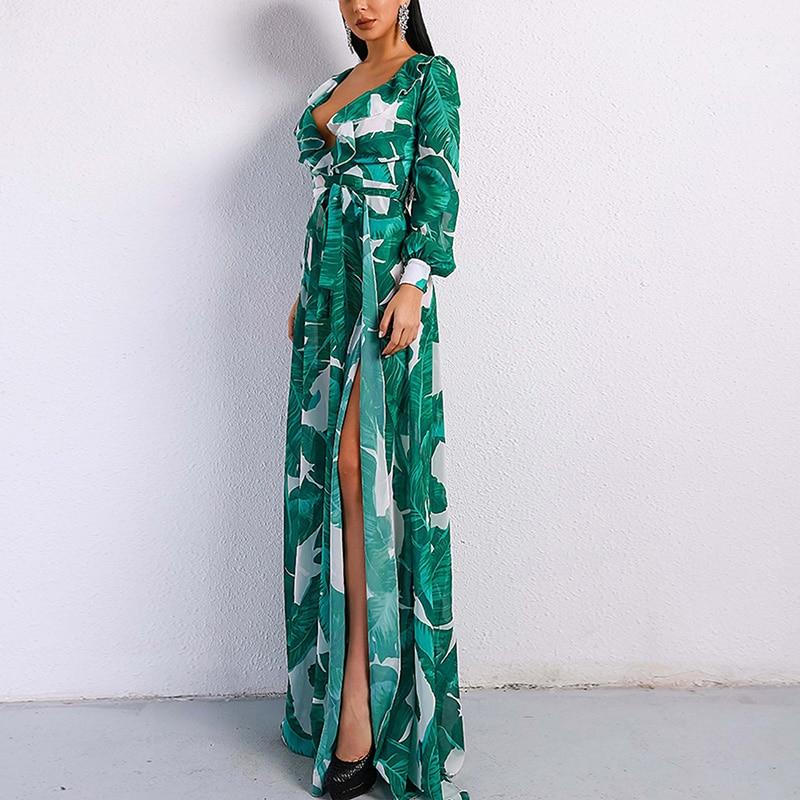 Ccibuy robe à manches longues plage tropicale Vintage Maxi robes Boho décontracté col en V ceinture à lacets tunique drapée robe de grande taille