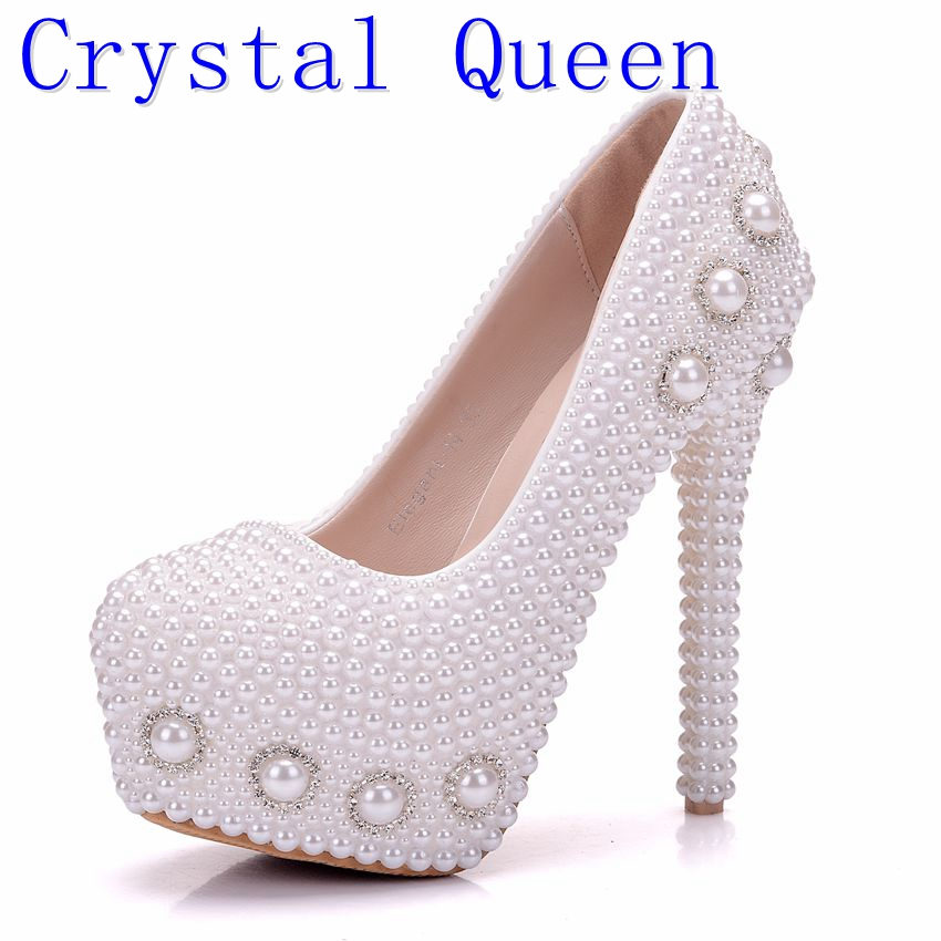 Crystal Queen Pearl Handmade Bridal Shoes Woman Dress Fashion Wedding Dress Party Women Shoes Crystal Ldy High Heel Pumps aidocrystal new handmade crystal wedding shoes high heel rhinestone bridal shoes performance shoes flower women pumps decoration