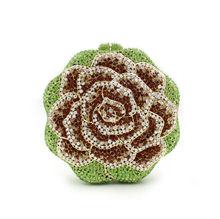 BL012 Rose Blume Geformt Kristall handtasche freies verschiffen diamant gold/rosa bunte abendtaschen Handmade geldbörse