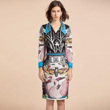 8fe7ebf4001e7b High quality Designer spring/Autumn Shirts Two Pieces Sets Women Long  Sleeve Bee beading blouses+Floral Print Vintage skirt Set