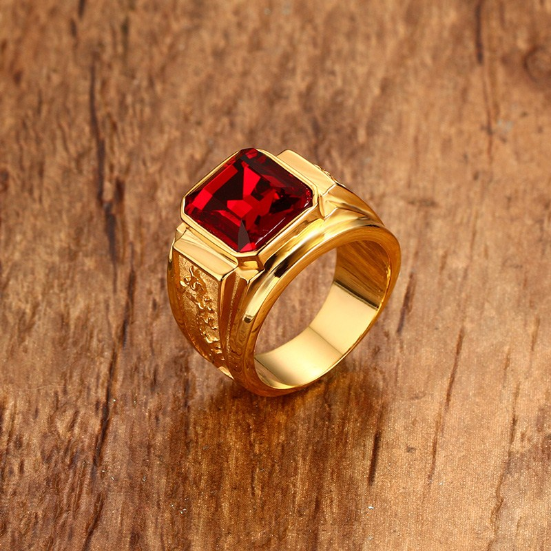 Mens Figment Ring with Red Blue CZ Stone in Gold Tone Stainless Steel Engraved Dragon Men
