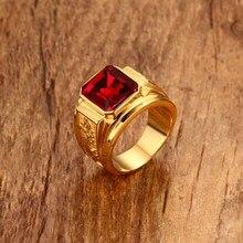 Мужские плод золотые кольца Цвет красные, синие Камень Обручальное кольцо из нержавеющей стали выгравирован дракон модная Мужская печатка ювелирных изделий Анель