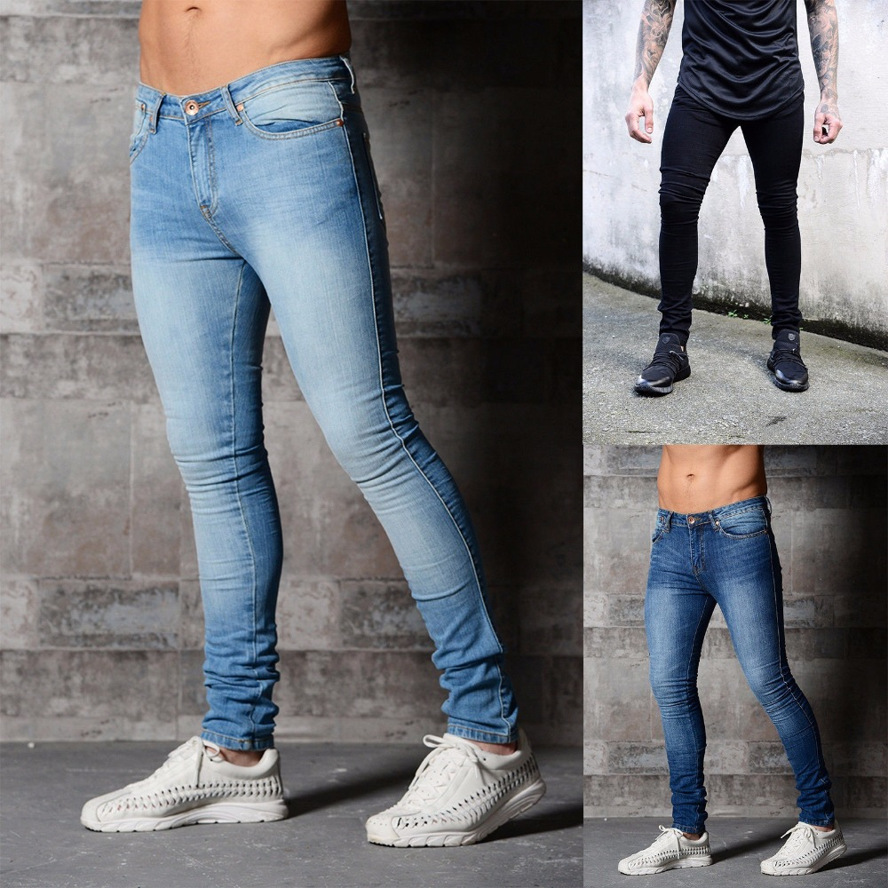 HOT 2019 Fashion Casual skinny black pencil pants Solid denim hip hop Men hot style pure color cowboy feet trousers men in Jeans from Men 39 s Clothing