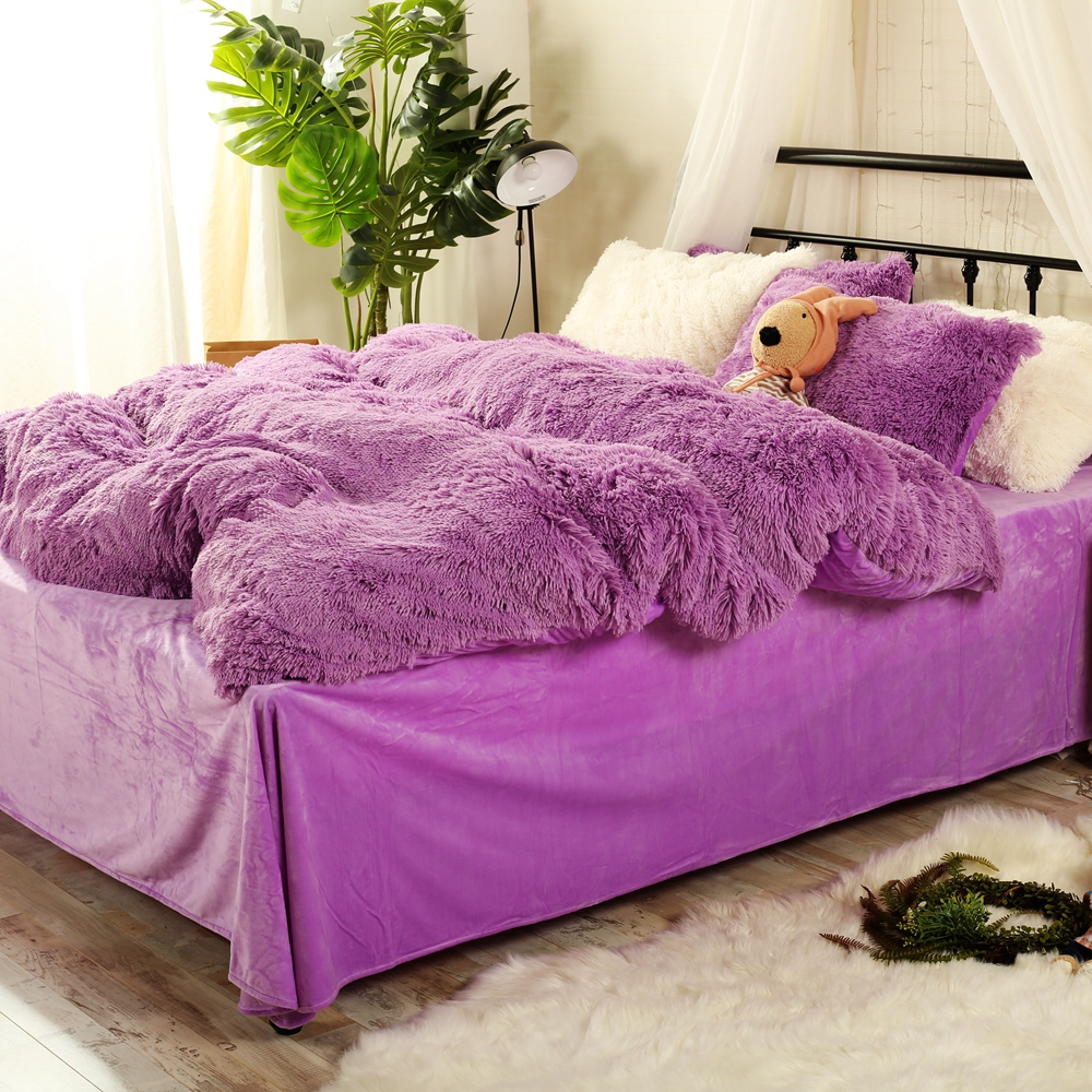 Colorful bed sheets - Lady And Girls Purple Flannel Blankets For Winter Solid Color Bed Sheets Pillow Case Queen Size