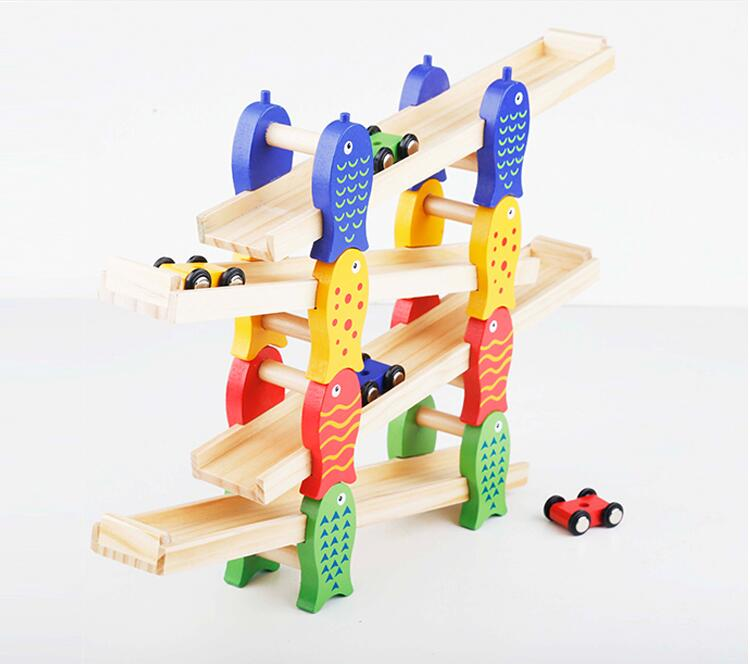 MamimamiHome Baby Wooden Detachable Chute Car Multi - Layer Track Scooter Montessori Toys For Children Building Blocks mamimamihome baby wooden montessori toys pink sound building blocks children early education situational creativity blocks