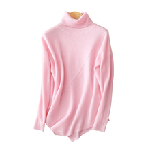 Women turtleneck pullover sweater 12gg 100% cashmere knitting 2017 fashion design plus size loose pullover with irregular hem