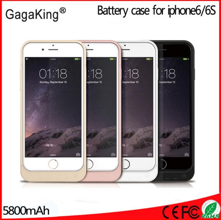 imágenes para 5800 mah externa de energía de reserva del cargador de batería para iphone 6s cubierta de la caja de batería del banco de la energía para apple iphone 6 6s 4.7 caso