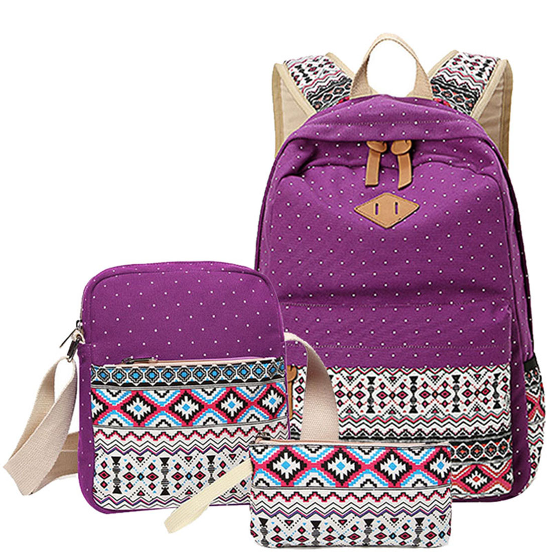 SNNY 3 pcs/set Polka Dot Printing Women Backpack Cute Lightweight Canvas bags Middle High School Bags for Teenage Girls, Purple