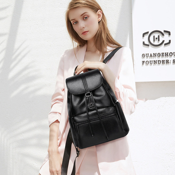 YUFANG 100% Real Genuine Leather Women's Backpack Brand Girl's Female Top Layer Cow Leather Casual Student School Bag Backpacks