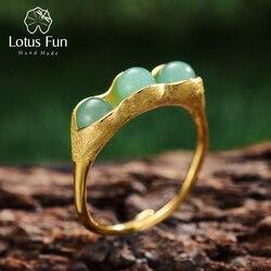 Lotus Fun réel 925 en argent Sterling 18K bague en or à la main Fine bijoux pierres naturelles créatif pois gousses conception anneaux pour les femmes