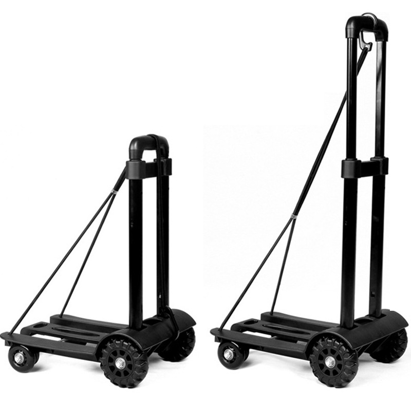 Aluminum alloy + ABS Folding Car Luggage Cart Bearing 75KG Portable shopping cart four-wheeled pull cart stout durable cart
