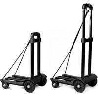 Aluminum alloy + ABS Folding Car Luggage Cart Bearing 75KG Portable shopping cart four wheeled pull cart stout durable