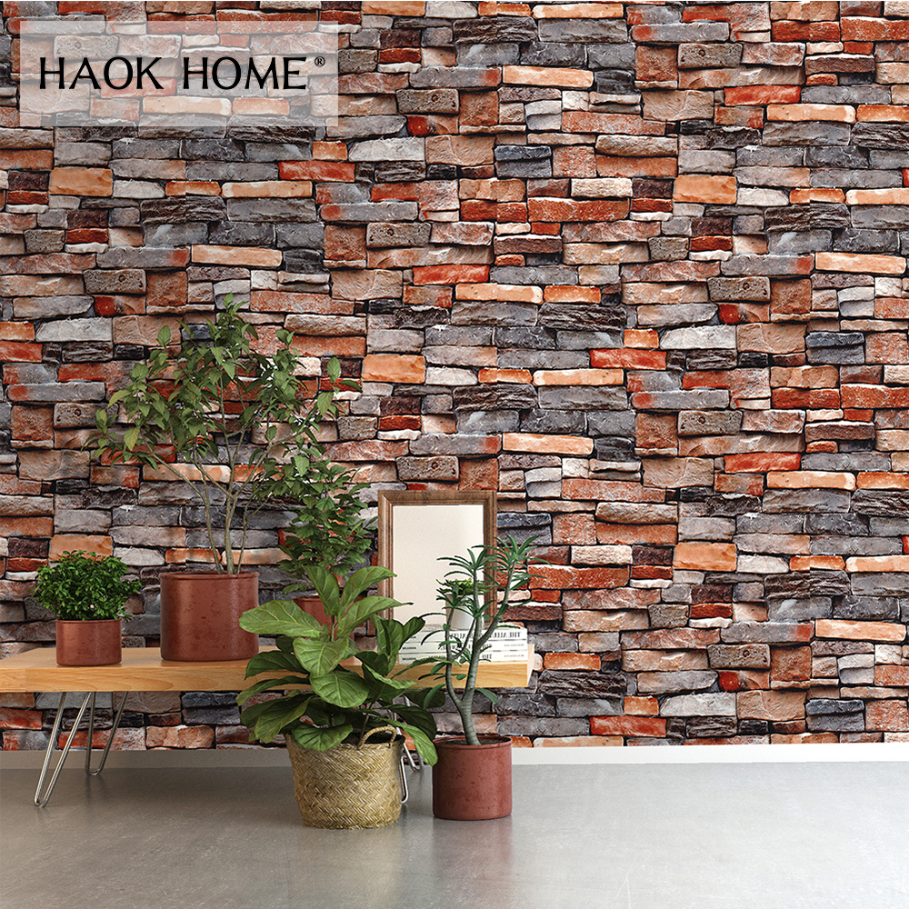 HaokHome Vintage Faux Brick PVC Wallpaper Rolls 3D Dark Grey Rust Stone Stacked Paper Murals living room bedroom home wall decor classic 3d stone brick pvc deep embossed wallpaper living room bedroom home decor wall paper stone rock waterproof wall covering