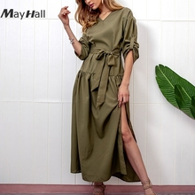 Mayhall 2018 Split Sexy Women Autumn Dress with Sashes Office Lady Long Casual Loose Vestidos Party female MH271