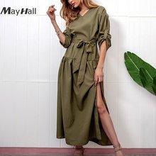 Женское длинное платье с поясом mayhall повседневное свободное