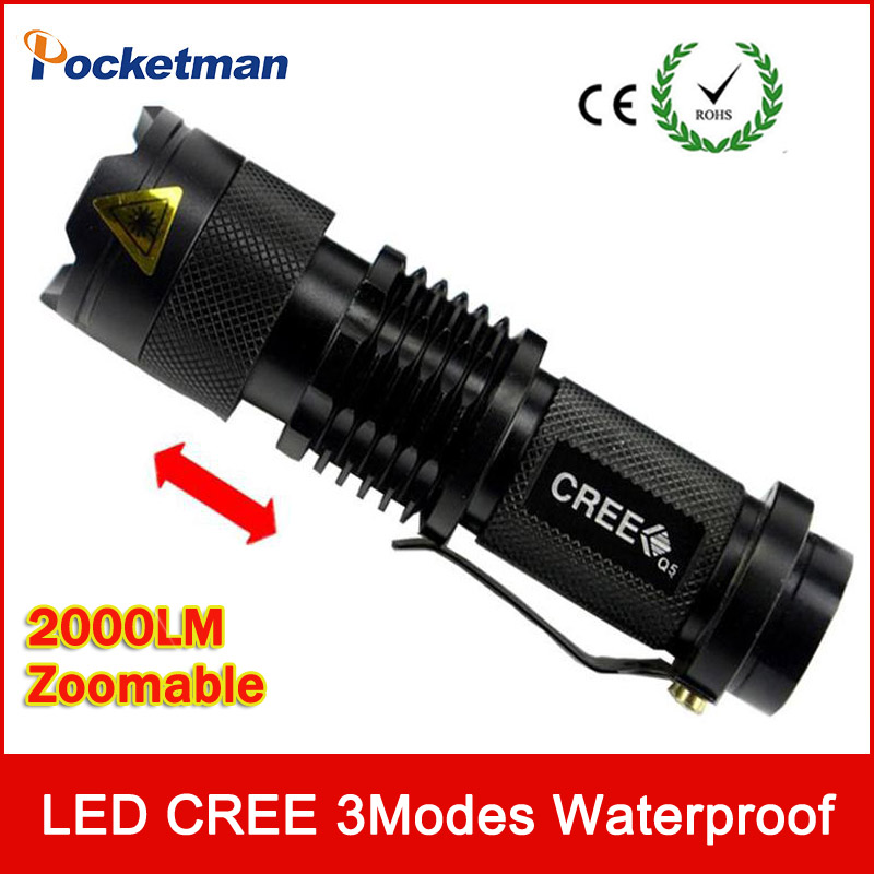 Ultra Bright Top Quality Mini CREE Q5 LED Flashlight 3 Modes 2000 Lumens Zoomable Waterp ...