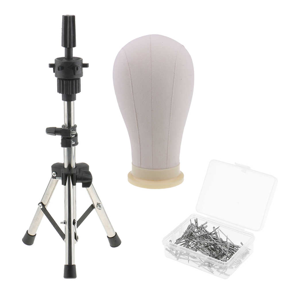 Cork Canvas Block Mannequin Head with Tripod Stand with 100Pcs 38mm Needle Pin