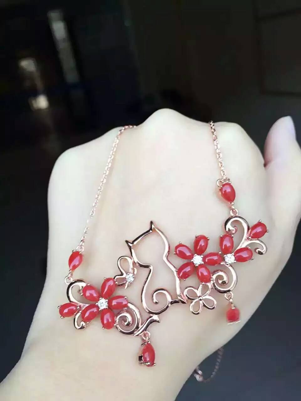 Collar de coral precioso rojo Natural colgante de piedras preciosas naturales Collar de plata S925 elegante jardín gato mujer joyería - 2