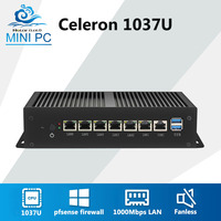 Мини компьютер Celeron 1037U 6 1000 Мбит/с Gigabit Ethernet LAN безвентиляторный мини ПК VPN служит маршрутизатор брандмауэра Pfsense Windows 7