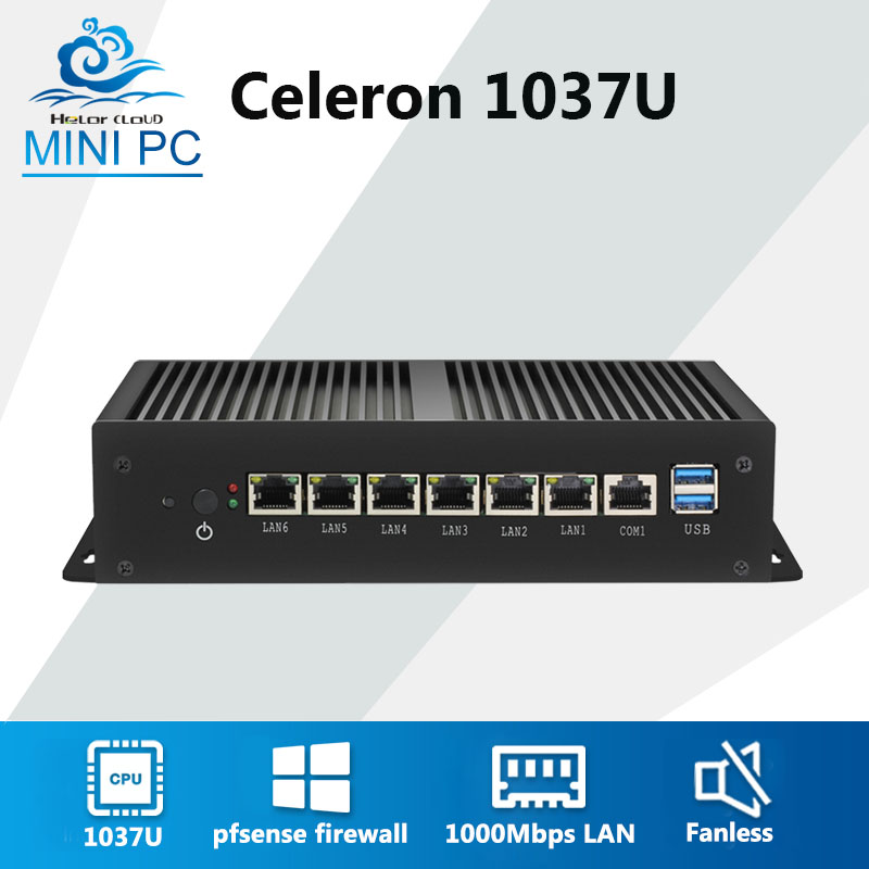 Mini Computer Celeron 1037U 6 1000 Mbps Gigabit Ethernet LAN Fanless Mini PC VPN Serve Router Firewall Pfsense Finestre 7