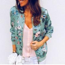 Spring Summer Slim Short Jacket For Women Fashion Floral Print Thin Bomber Jacket O-Neck Long Sleeve Casual Plus Size Jacket 2XL stylish stand neck long sleeves floral print jacket for women