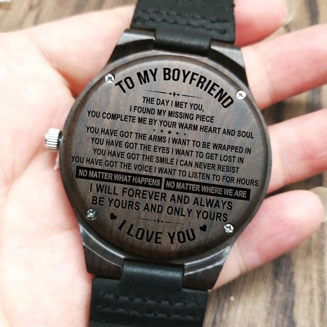 TO MY BOYFRIEND I WILL FOREVER AND ALWAYS BE YOURS AND ONLY YOURS ENGRAVED WOODEN WATCH 1