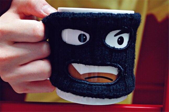 Горячие продажи творческих смешной в маске керамические кофе Магга кружка кубок изоляции устанавливает грабитель кружки