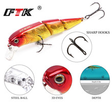 FTK Minnow Bass Fishing  Lure 1pcs/lot 70mm 10g Assorted colors Hard Sinking Topwater Wobblers Crankbait Tackle