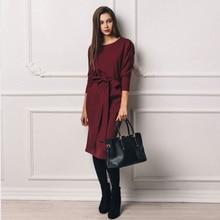 Vintage Bandage Women Dress 2018 Autumn Winter Red Long Sleeve High Waist Vestidos Elegant Knee Length Office Ladies Dresses