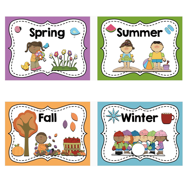 4Pcs/Set A4 Big Size Card English Four Seasons Word Cards Toys Montessori Classroom Wall Decoration Learning Early Education