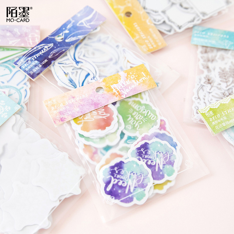 45 PCS/Pack Transparent Deep-sea Shark Decorative Diary Label Pack Decorative Scrapbooking Children Stationery PVC DIY Stickers