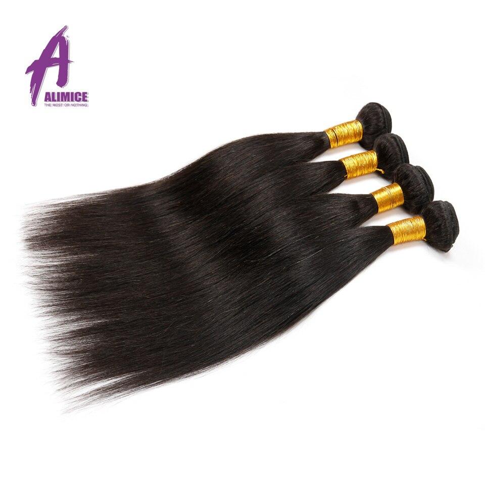Alimice Hair Peruvian Straight Hair 1 Piece Natural Color 100% Human Hair Bundles Weaving 8-30inch Non Remy Hair Extensions