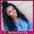 Synthetic hair lace front wig baby hair free part 14-26inchafro kinky curly  free part heat resistant 100% fiber fast shipping