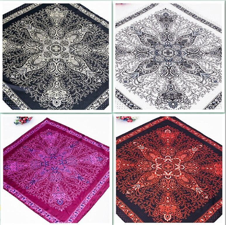 90*90cm Spring Summer Retro Ethnic Scarf Multicolor Scarf Paisley Design Print Kerchief Woman Neck Shawl Wraps Echarpe