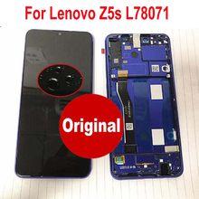100% testado trabalhando sensor de vidro original para lenovo z5s l78071 display lcd tela do painel toque digitador assembléia com quadro