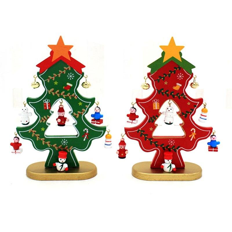ᐅ18 cm madera Navidad árbol con colgante Decoración y campanas DIY ...