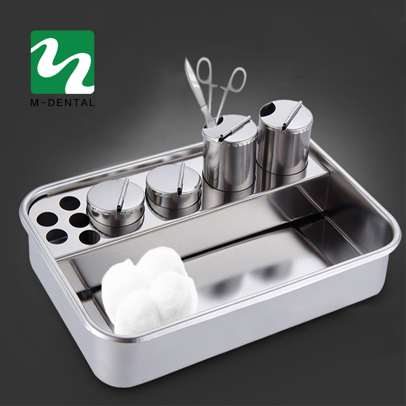 Stainless Steel Dental Dressing Plate Instruments Storage Box With 4 Bottles For Dentist Lab Free Shipping