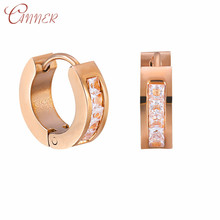 CANNER Small Huggie Hoop Earrings for Women Cubic Zirconia Crystal Stone Earings Fashion Jewelry 2019 Simple Korean