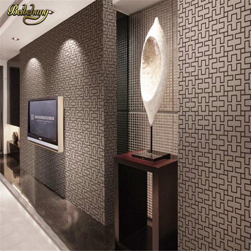 beibehang Geometric brick wallpaper roll vintage embossed vinyl wall paper for bedroom background wall wallpaper for