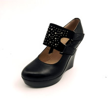 Echtes leder frauen high heels wedges pumps weibliche strass OL BEQUEME schwarze arbeitsschuhe sy-779