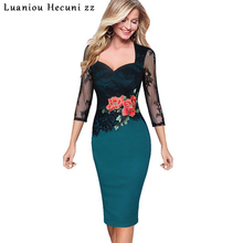 Chu Ni Elegant Women Floral Embroidery See Through Lace Dress 2019 Summer Bridemaid Mother of Bride Sexy Evening Party Dress M32