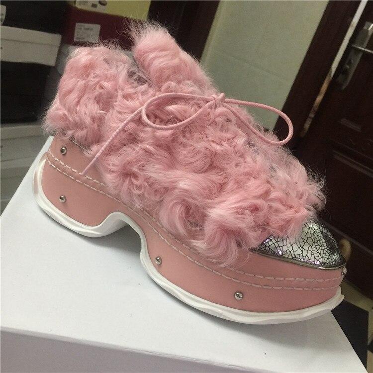 75c3e29235c Autumn Winter High Heels Leather Roll Wool Fox Fur Shoes Women Lace Up Thick  Sole Warm Platform Sneakers Women Zapatos De Mujer - aliexpress.com -  imall.com
