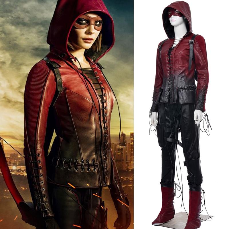 2017 Green Arrow Season 4 Thea Queen Cosplay Costume for adult women Red Arrow Speedy cosplay costume Superhero leather hoodie