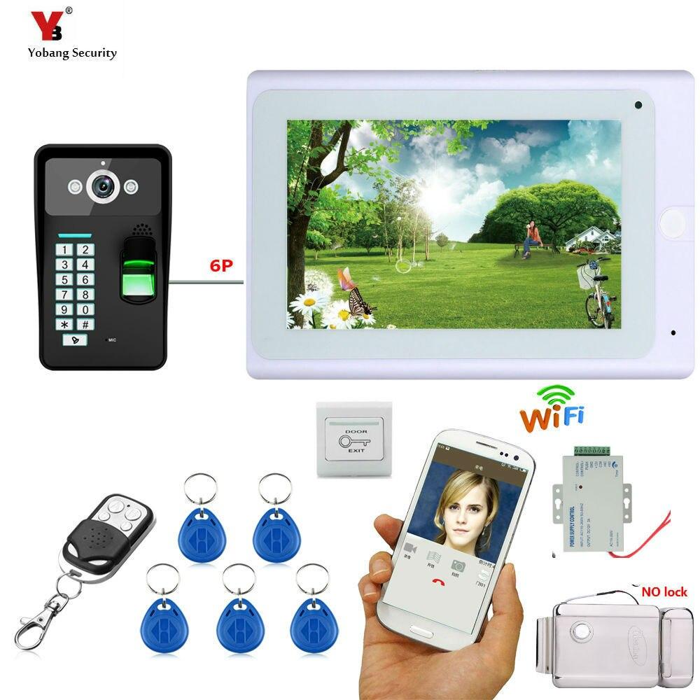 Yobang Security 7HD Video Doorbell WIFI Code ID Cards Unlock Intercom Kits+Exit Button Electric /NC/Magnetic Door Lock Option